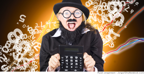 woman in disguise holding calculator
