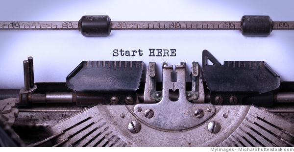 start here written on typewriter