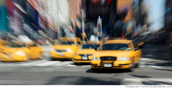 yellow taxis in traffic