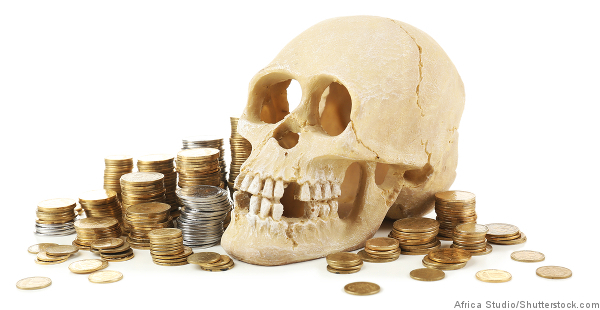 skull and coins